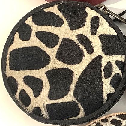 Porte Monnaie Rond Noir Girafe