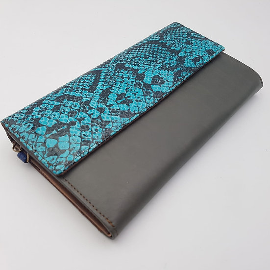 Compagnon Gris Python Turquoise (cuir couleurs multiples)