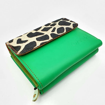 Portefeuille Vert Girafe (cuir intérieur multi couleurs)