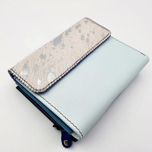 Portefeuille Bleu Ciel Argenté (cuir couleurs multiples)