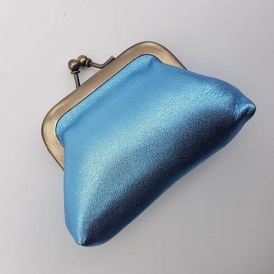 Porte Monnaie Clip taille S Bleu Métallisé