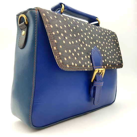 Grand Cartable Bleu Pois Blancs
