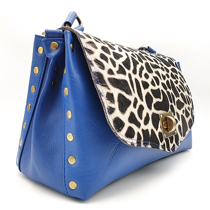 Magali Cuir Façon Vintage Bleu Girafe