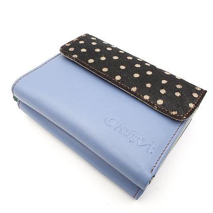 Portefeuille Bleu Pois Blancs (cuir intérieur multi couleurs))