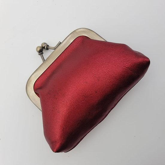 Porte Monnaie Clip taille S Rouge Métallisé