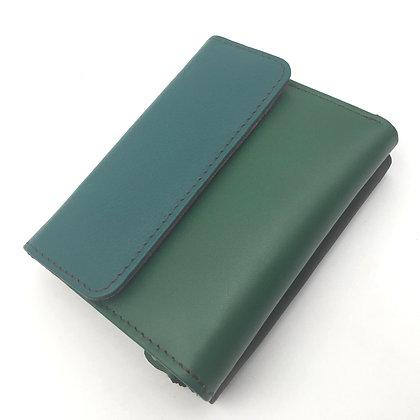 Portefeuille Vert ton sur ton(cuir couleurs multiples)