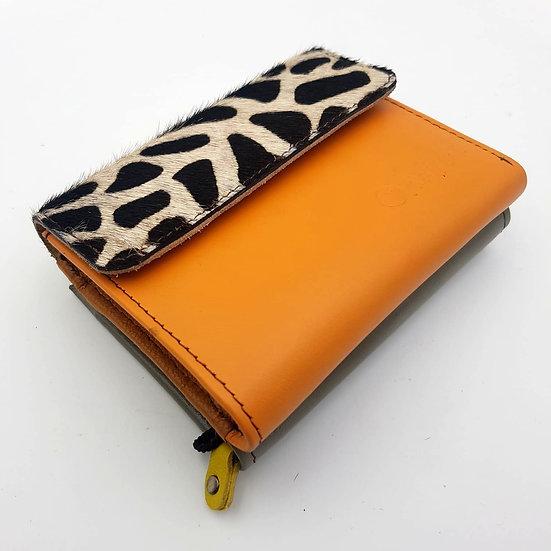 Portefeuille Carré Orange Girafe (cuir couleurs multiples)