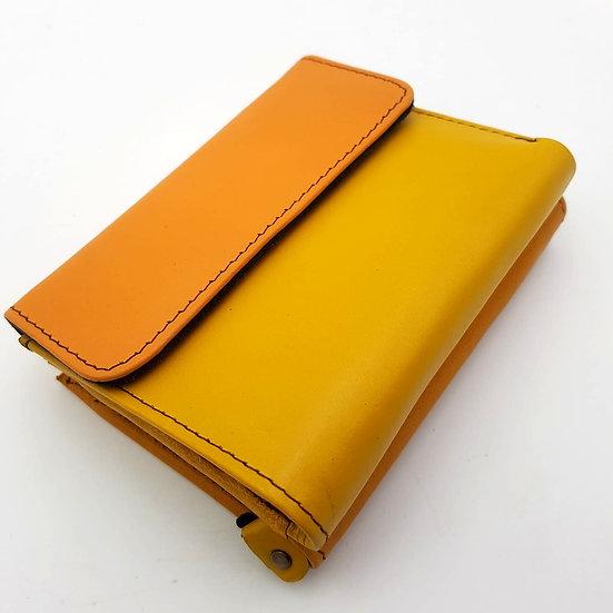 Portefeuille Carré Bicolore Moutarde (cuir couleurs multiples)