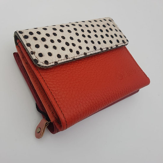 Portefeuille Carré Rouge Pois Noir (cuir couleurs multiples)