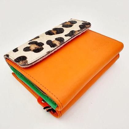 Portefeuille Orange Léopard (cuir intérieur multi couleurs)