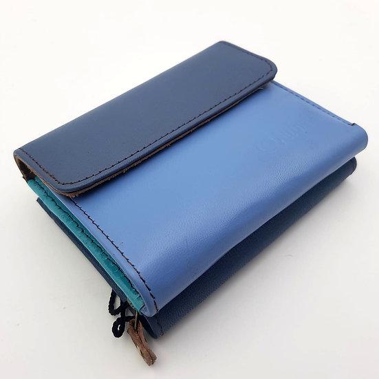 Portefeuille Carré Bicolore Bleu (cuir couleurs multiples)