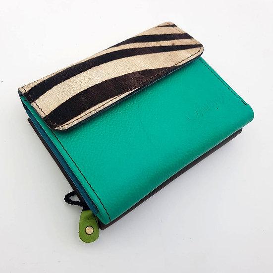 Portefeuille Carré Vert Zébré (cuir couleurs multiples)
