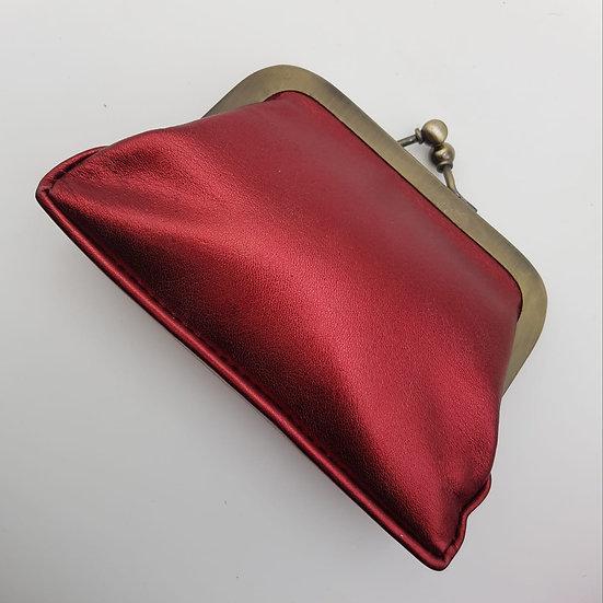 Porte Monnaie Clip taille M Rouge Métallisé