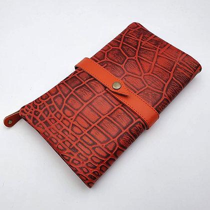 Portefeuille Souple Croco Orange (cuir couleurs intérieur multiples)