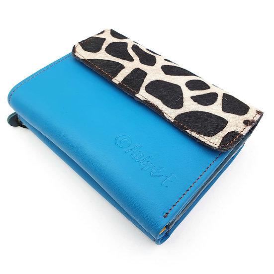 Portefeuille Bleu Canard Girafe (cuir intérieur multi couleurs)
