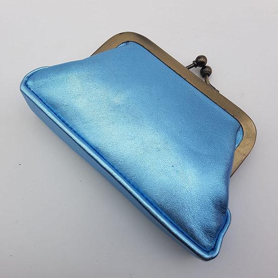 Porte Monnaie Clip taille M Bleu Métallisé
