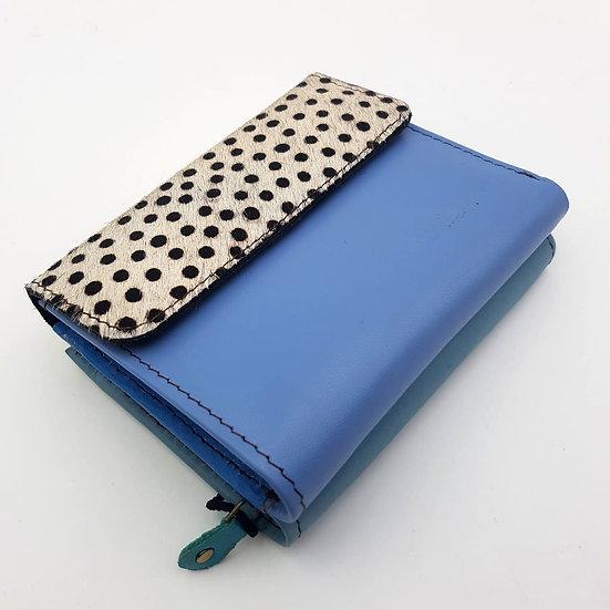 Portefeuille Carré Bleu Pois Noirs (cuir couleurs multiples)
