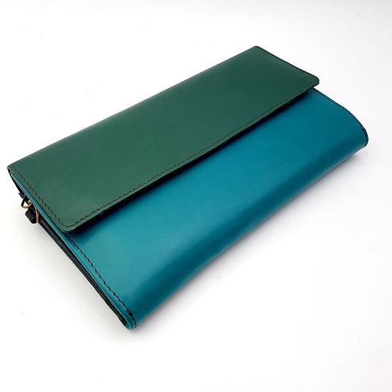 Compagnon bleu turquoise/vert (cuir couleurs multiples)