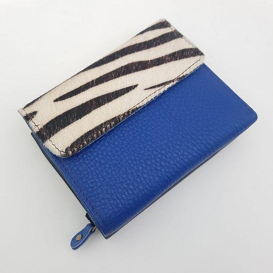 Portefeuille Carré Bleu Zébré (cuir couleurs multiples)