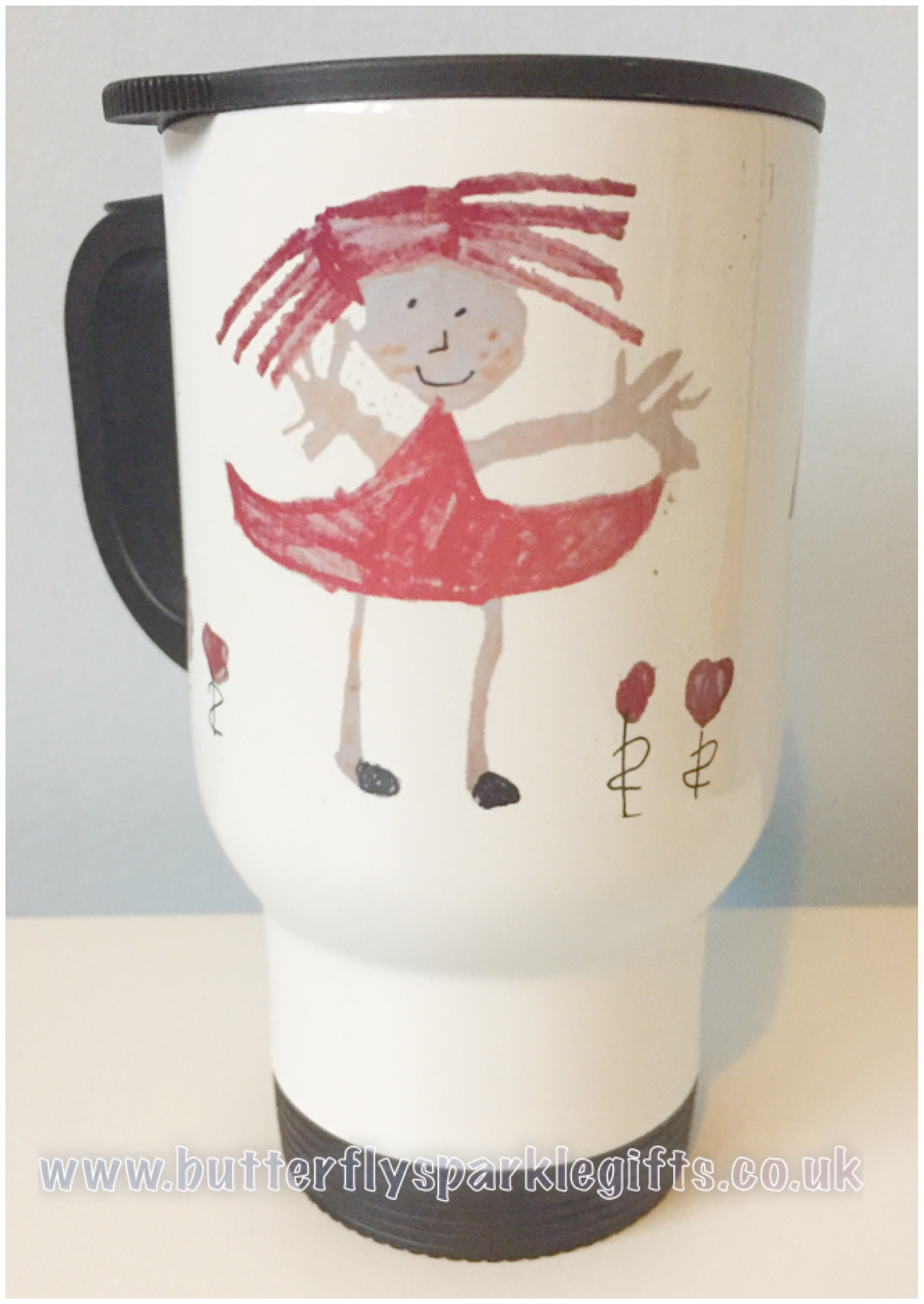 Travel Mug Drawing Butterfly Sparkle