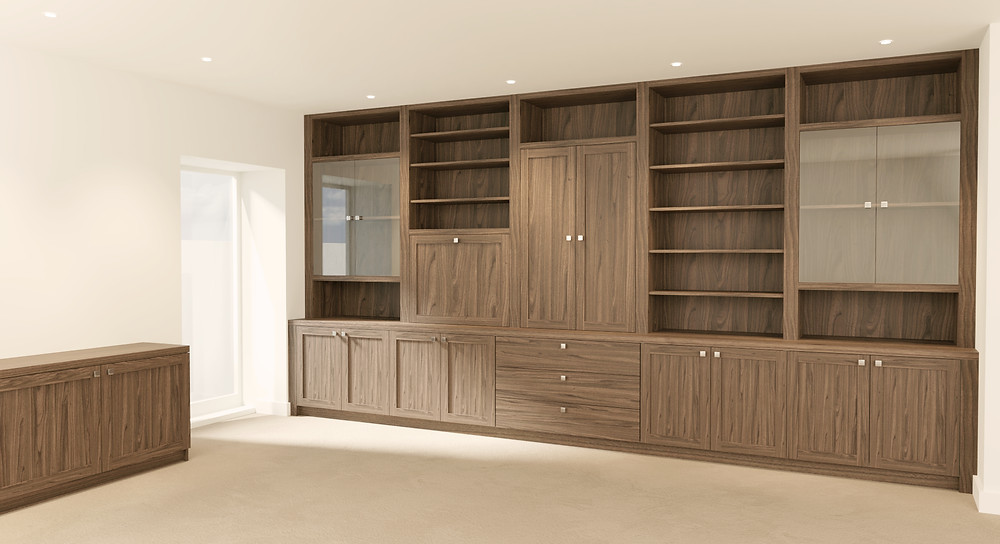 3D Rendering of a Built-In Walnut furniture piece