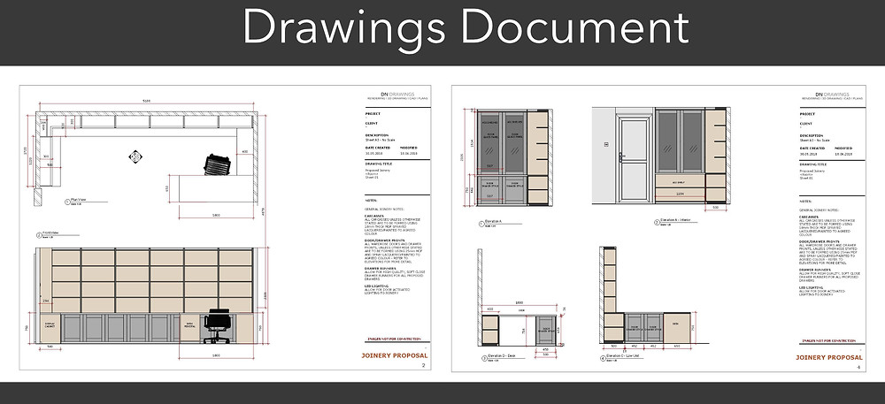 The final document with all drawings and 3D renderings