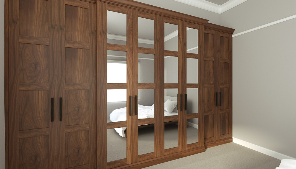 3D Rendering of a built-in wardrobe in Walnut
