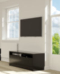 CGI 3D Rendering of a black TV unit design