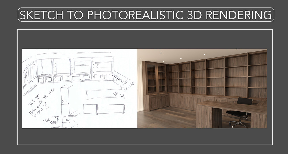 From Sketch to Photorealistic 3D Rendering