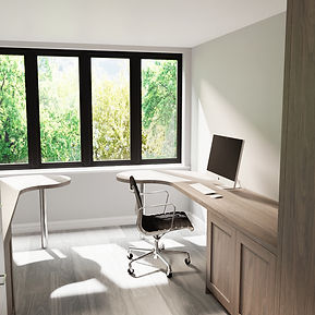 CGI 3D Rendering of a built-in desk and cupboard joinery design