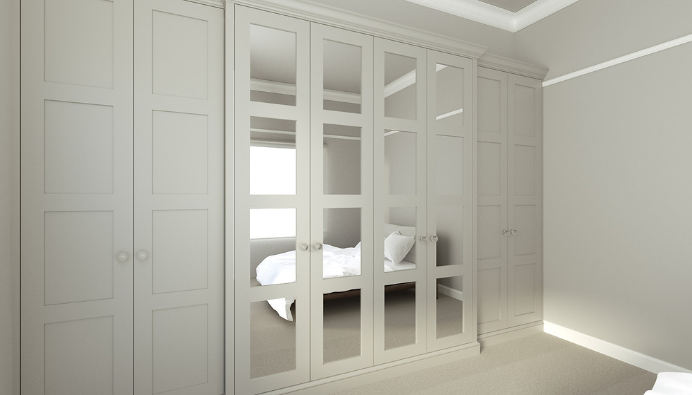 3D Rendering of a built-in wardrobe in Grey