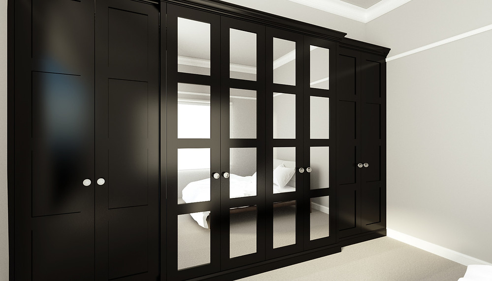 3D Rendering of a built-in wardrobe in Black