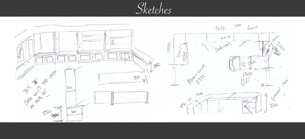 Initial sketches to turn in to 3D Rendering