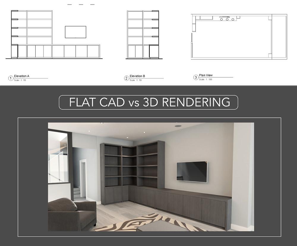 Flat CAD vs 3D Rendering