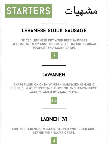 Beyroots Lebanese Street Food Starters Menu