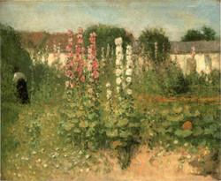 図11 エルネスト・クォスト《タチアオイの咲く庭》
