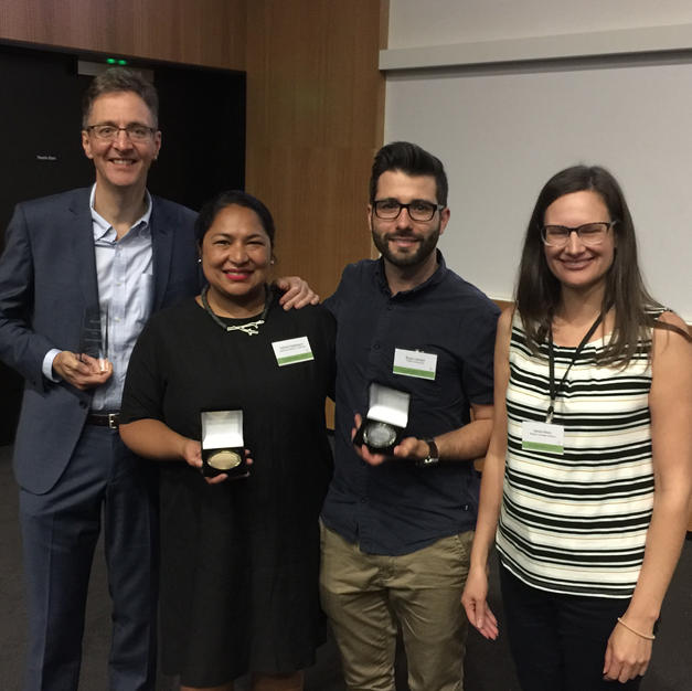 2017 Award Recipients: Mark Harvey (Distinguished Career Award), Natalie Nagalingum (Mid-Career Researcher Award), Bryan Lessard (Early Career Researcher Award), Nerida Wilson (President, 2015-2017)