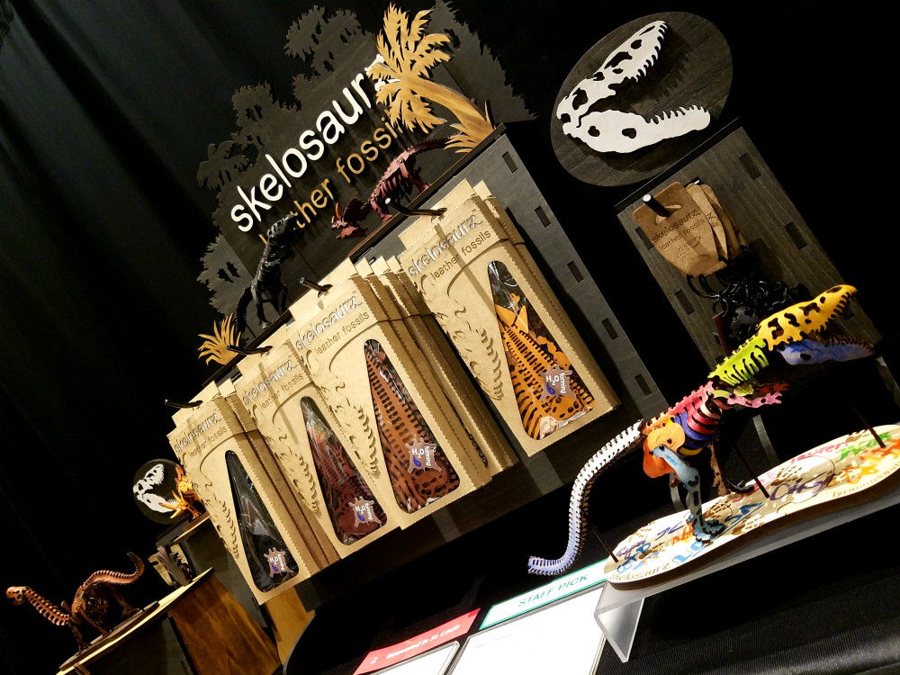 Skelosaurz, Leather, Fossils, DIY, Art toy, kit, dinosaurs, sculpture, Janelle Becker, artist, WTP store, St. Louis art