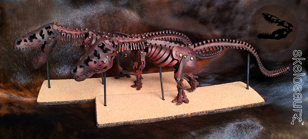 T-rex, tyrannosaurus, skelosaurz, leather, fossils, skeleton, fossil, paleo, paleoart, artist, j.v. becker, natural toy, natural, toy, prehistoric, diy, kit, stem, learning
