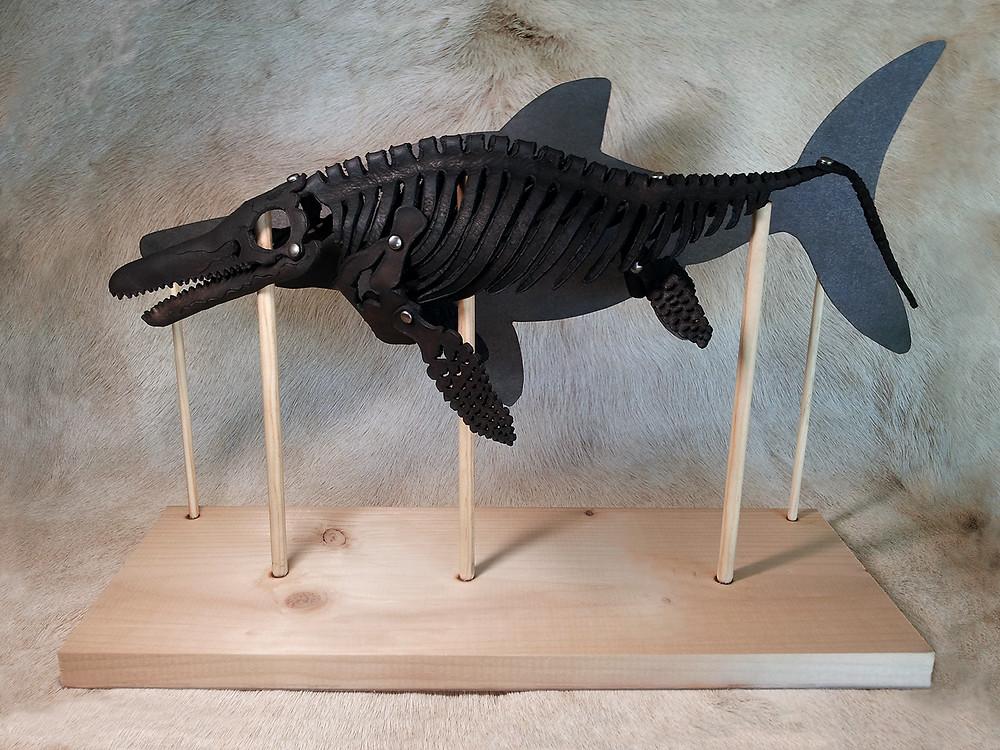 ichthyosaur, fish, lizard, prehistoric, skelosaurz, leather, fossil, dinosaur, paleo, paleoart, j.v. becker, sculpture, sealife, ocean, ancient, art