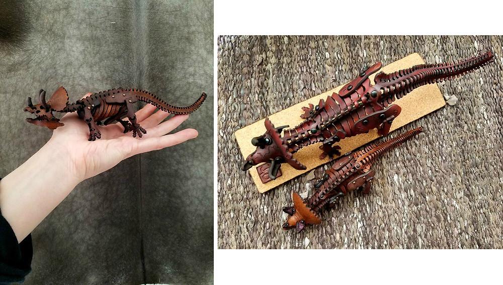 paleo, leather, Skelosaurz, fossil, triceratops, Kickstarter, skeleton, paleoart, sculpture, diy, kit, model