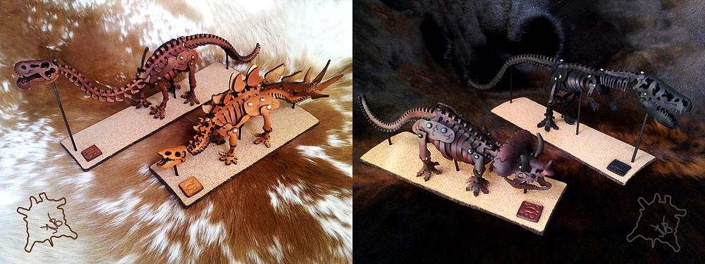 Skelosaurz, leather, dinosaur, skeleton, fossil, DIY, kit, paleoart, t-rex, triceratops, brontosaurus, stegosaurus, J.V. Becker