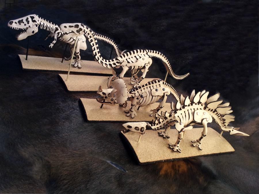 dinosaur, skeleton, prehistoric, Skelosaurz, leather, fossils, art, toy, stem, kit, diy, leathercraft, trex, triceratops, stegosaurus, brontosaurus, paleo, paleoart, sculpture
