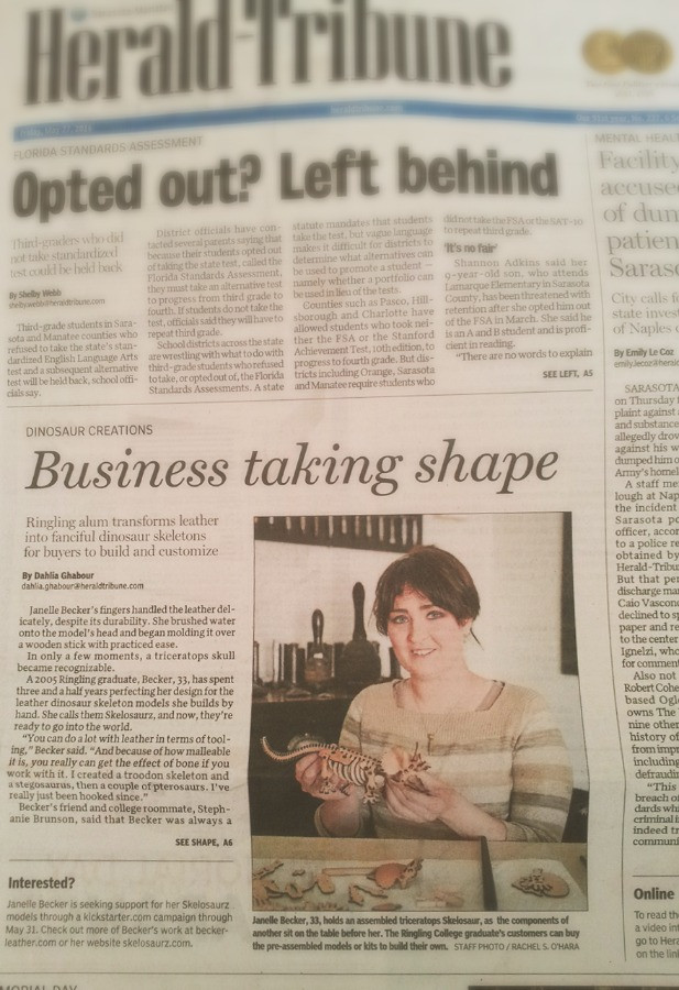 Sarasota Herald Tribune, Janelle Becker, Leather, Dinosaurs, Business, Taking, Shape, Art, Toys