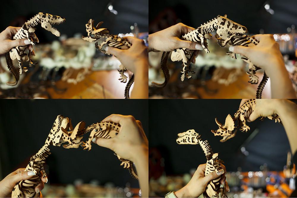 Leather, dinosaur, Skelosaurz, fossils, DIY, natural toy, skeleton, leather dino, t-rex, triceratops, J.V. Becker, paleoart, kit