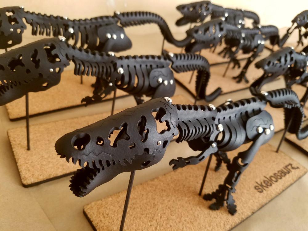 T-rex, Skelosaurz, leather, dinosaur, DIY, kit, fossil, paleoart, skeleton, J.V. Becker, artist, natural toys