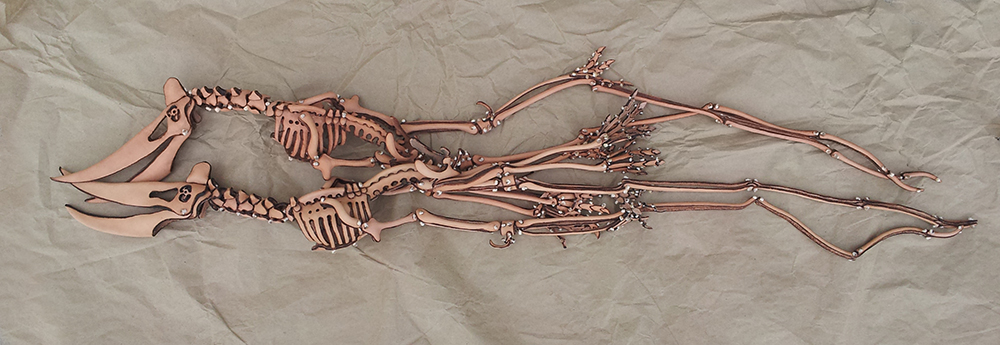 Pterosaur, leather, articulated, fossil, J.V. Becker, paleoart, dinosaur, sculpture, artist, prehistoric