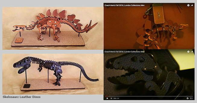 leather dinosaur skeleton, Skelosaurz, leather, dinosaur, skeleton, coach, rexy, leather dino, bag charm, t-rex, leather fossil, J.V. Becker, original dinosaur, dinosaur, leather artist, copycat art, leather t-rex