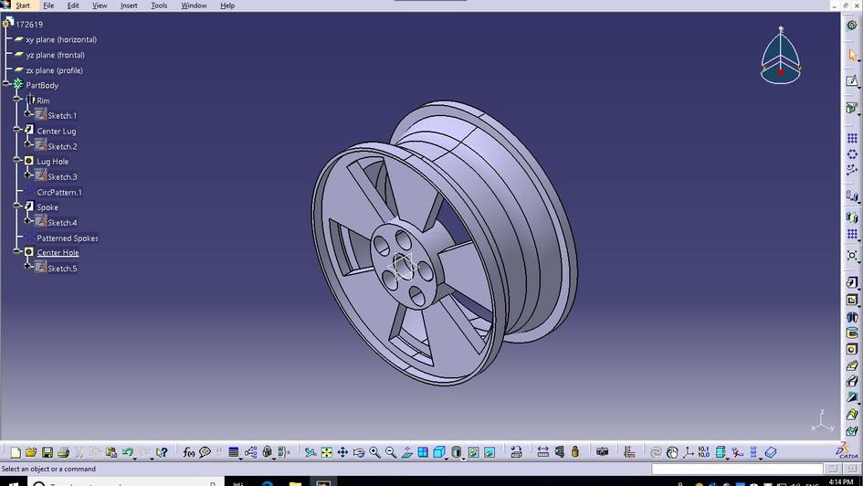 CGT 163: Tire Rim Modeled in Catia