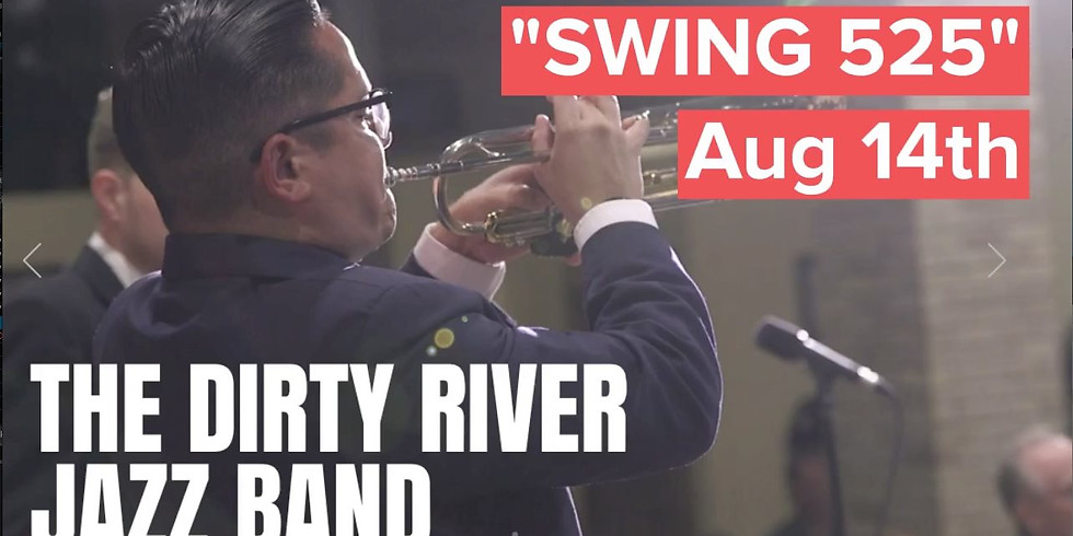 """SWING 525 """"Dirty River Jazz Band"""" - Dance Party Aug 14 at Historic Hermann Sons Ballroom"""